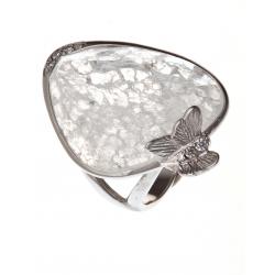 Bague argent rhodié 5,1g quartz cristal et zircons T 50 à 60