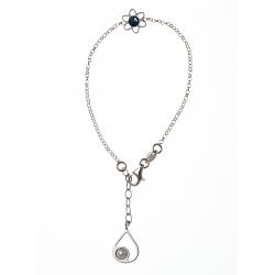 Bracelet argent rhodié 2g perle et cristal de swarovski 16+2,5 cm