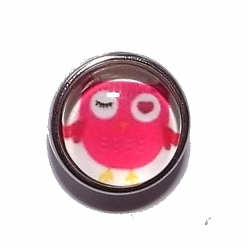 """Bouton pression """"hibou rouge"""" taille P"""
