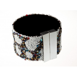 Bracelet fantaisie strass dominante AB - fermoir aimant - 17 x 3,5 cm