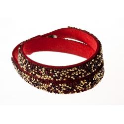 Bracelet fantaisie rouge strass dorés - 2 tours