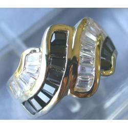 BAGUE PLAQUEE OR  PIERRES SYNTHETIQUES