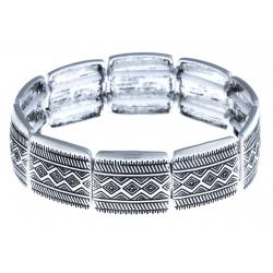 Bracelet fantaisie - vieil argent - élastique
