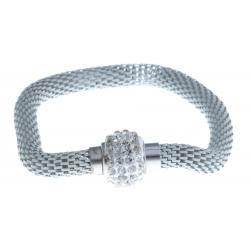 Bracelet fantaisie mailles grises et strass - fermoir aimant - 20 cm