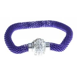 Bracelet fantaisie mailles violettes et strass - fermoir aimant - 20 cm
