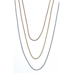 Collier en argent rhodié 6,6g - 3 fils - 3 tons - 42+3 cm
