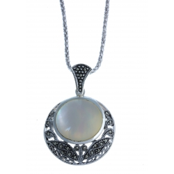 Collier argent rhodié 8,3g – marcassites - nacre – 45 cm
