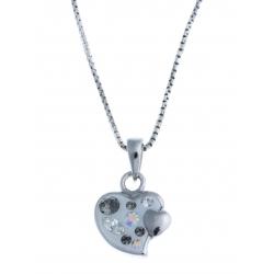 """Collier en argent rhodié 4g """"coeur"""" - cristal de swarovski - 40 cm"""