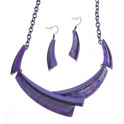 Parure fantaisie - collier époxy multicolore - résine - 40+9 cm + boucles d'orei