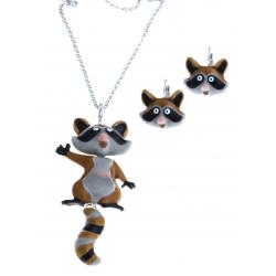 """Parure fantaisie - collier  """"renard"""" - émail coloré - 52+7 cm + boucles d'oreill"""