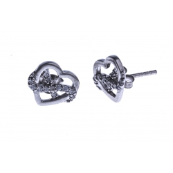 """Boucles d'oreille argent rhodié 2g """"coeur+infini"""" - zircons"""