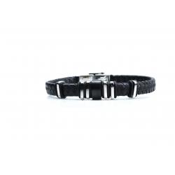 Bracelet acier 2 tons noir et blanc - homme - cuir tressé noir - 21 cm
