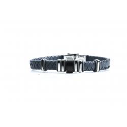 Bracelet acier 2 tons noir et blanc - homme - cuir tressé gris - 21 cm