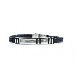 Bracelet acier 2 tons noir et blanc - homme - cuir tressé noir - émail noir - 21  cm