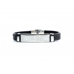 Bracelet acier - homme - cuir noir et finition noire - 21 cm