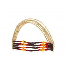 Bracelet fantaisie  - finition dorée - perles mutlicolores - élastique