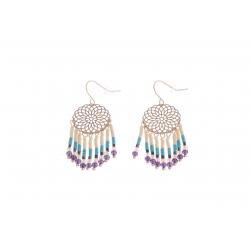 Boucles d'oreille fantaisie - finition dorée - perles multicolores