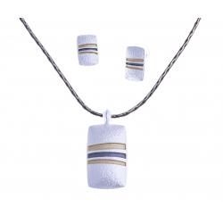Parure fantaisie plaqué argent  - collier époxy multicolore - 41+8 cm + boucles