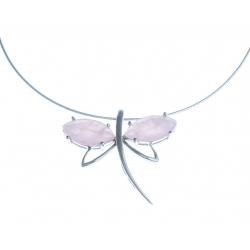 """Collier argent rhodié 13g """"libéllule"""" - quartz rose - 38+5 cm"""