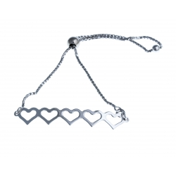 """Bracelet argent rhodié 3,9g """"cœurs"""" - réglable"""
