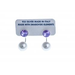 Boucles d'oreille argent rhodié 2,4g - cristal violet et perles de swarovski