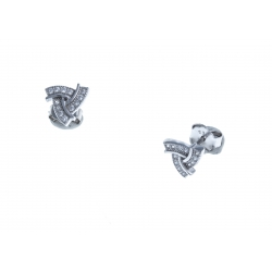 Boucles d'oreille argent rhodié 1,2g - zircons