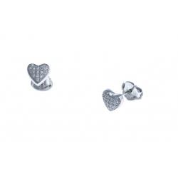 """Boucles d'oreille argent rhodié 1,4g """"coeur"""" - zircons"""