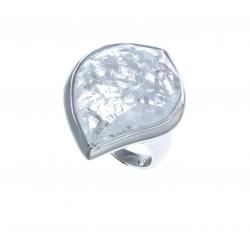 Bague argent rhodié 7g - quartz cristal - T 50 à 60