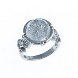 Bague argent rhodié 5,5g - quartz cristal - zircons - T 50 à 60