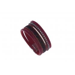 """Bracelet fantaisie rouge et strass """"lézard"""" - 19,5 cm"""