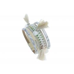 Bracelet fantaisie mutlicolore - pompons - 19,5 cm