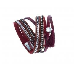 Bracelet fantaisie rouge - 2 rangs - strass - chaine argenté et cristal - 39 cm