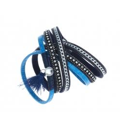 Bracelet fantaisie bleu - 2 rangs - strass - chaine argenté et cristal - 39 cm