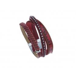 Bracelet fantaisie rouge et strass - 19,5 cm