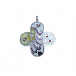 Pendentif acier - émail - nacre - signe du zodiaque : Balance