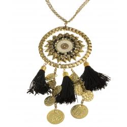 Sautoir fantaisie - métal doré, perles noitres - pompon – 70+7 cm