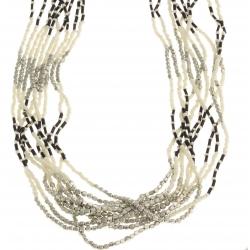 Sautoir fantaisie perles blanches et noires - métal argenté – 95 cm