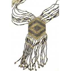 Collier fantaisie - metal argenté, doré et noirci - 50+8 cm
