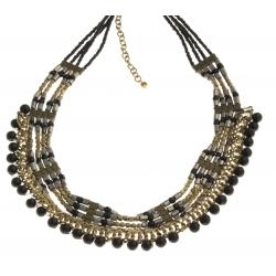 Collier fantaisie - metal argenté, doré et perles noires - 40
