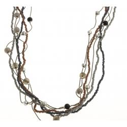 Sautoir fantaisie - métal argenté - perles multicolores - 90 cm