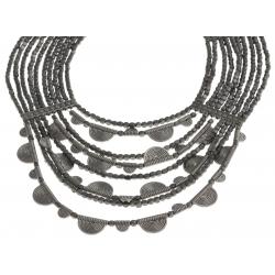 Collier fantaisie - metal argenté - 40+7 cm