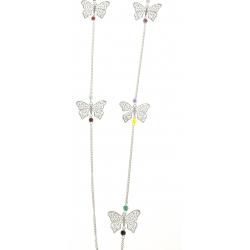 Sautoir fantaisie - perles et papillons ajourés - 95 cm