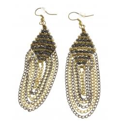 Boucles d'oreille fantaisie métal argenté et doré - 8 cm