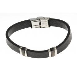 Bracelet acier 2 tons noir et blanc - homme - cuir noir - 21 cm