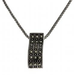 Collier argent rhodié 6g - marcassites - 45 cm