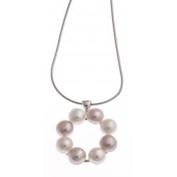 Collier argent rhodié 6g - perles de culture roses et blanches - 40 cm
