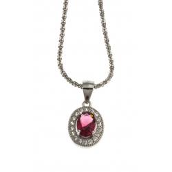 Collier argent rhodié 3g - rubis synthétique - zircons - 40 cm