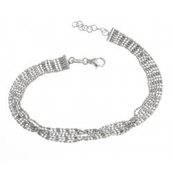 Bracelet argent rhodié 5,1g - maille 1+1 -18+2cm