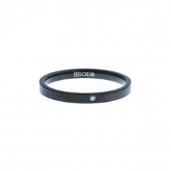 Anneau interne SCREW - acier noir - zircon - 2,5 mm - Taille 55 à 65