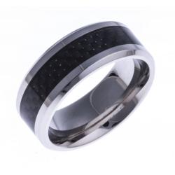Bague acier homme - fibre de carbone noire - 8mm - T 56 à 70